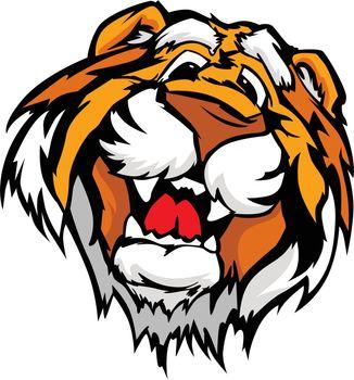 Smiling Cartoon Tiger Mascot Vector Graphic