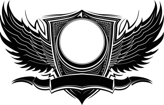 Ornate Badge with Wings and Banner Graphic Vector Template