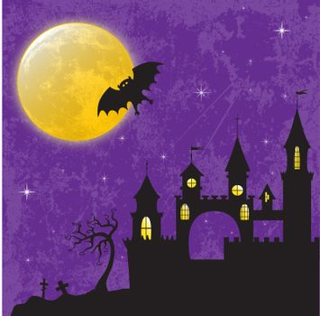 Gothic castle in the moonlight. EPS10 vector illustration for Halloween design.