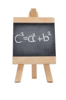 Chalkboard with a mathematical formula written on it