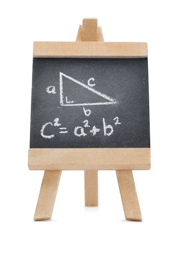 Chalkboard with a mathematical formula and a geomerical figure w
