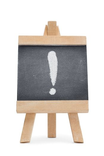 Chalkboard with an exclamation mark written on it
