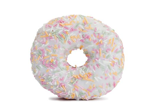 Pink Iced Doughnut covered in sprinkles isolated