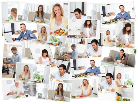Montage of young adults in the kitchen