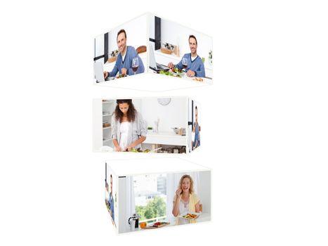Montage of people enjoying in their kitchen