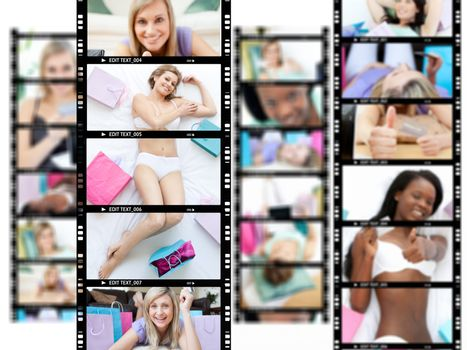 Montage of attractive women lying on their bed