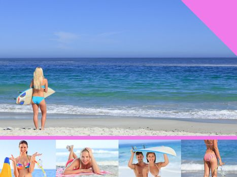 Montage of attractive woman on the beach