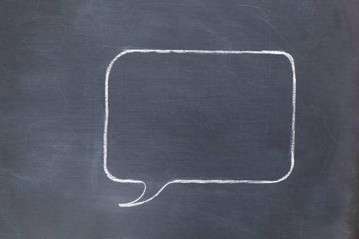 Empty square speech bubble on a blackboard
