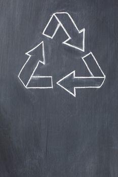 Recycle symbol on a blackboard