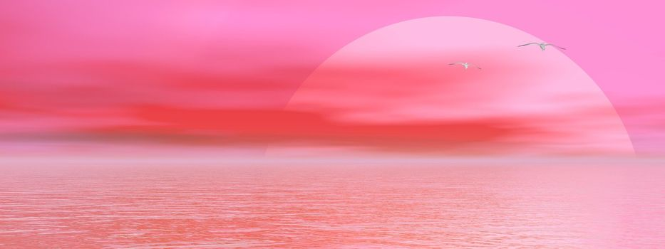 Big pink sun shining while sunset over the ocean and two seagulls flying