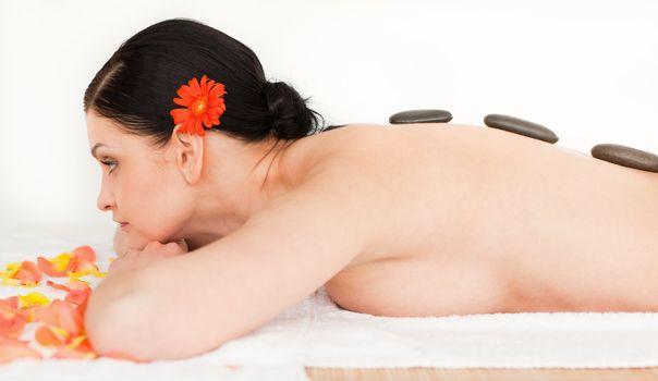 Brunette enjoying the procedure of massage