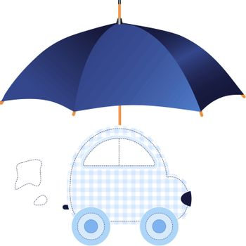 Blue car under umbrella (concept of protection or insurance). Also available as a Vector in Adobe illustrator EPS format, compressed in a zip file. The vector version be scaled to any size without loss of quality.