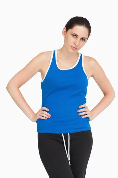 Serious brunette in sportswear