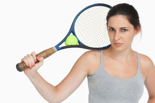 Sportswoman with a tennis racket