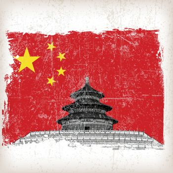 illustration Temple of Heaven china flag with grunge effect