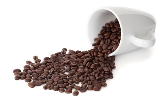 Spilled cup of coffee beans