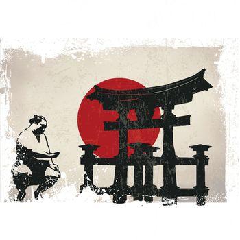 Miyajima Torii, sumo, Japan flag with grunge effect