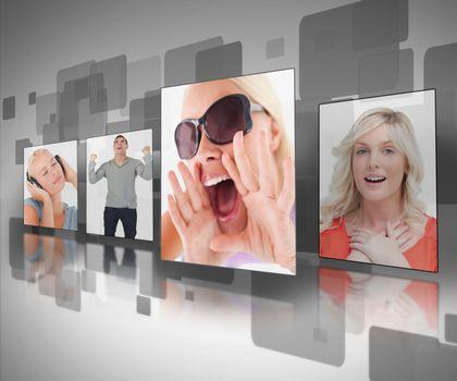 Photos displayed on digital black and grey wall