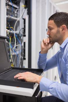 Man doing maintenance of servers