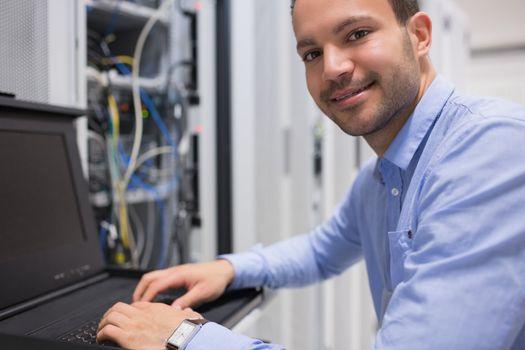 Man searching through servers