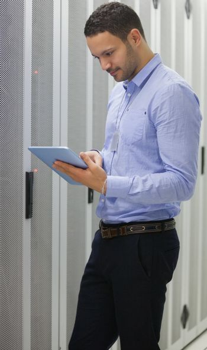 Technician doing data storage