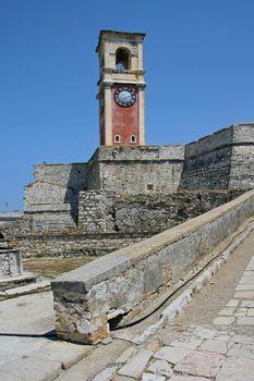 Old steeple in Corfu in the castle