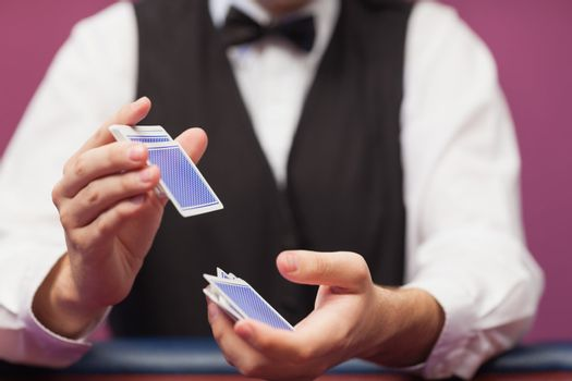Deck of cards being shuffled
