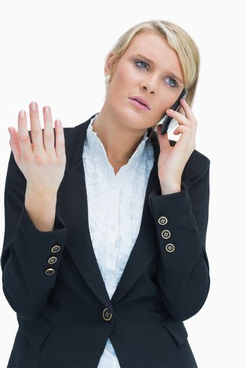 Annoyed woman on phone