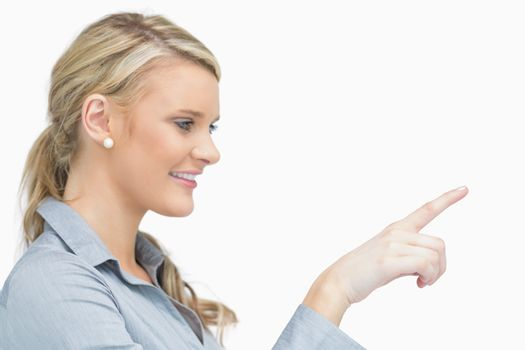 Businesswoman pointing to the right