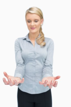 Businesswoman bearing something