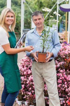 Florist giving advice to customer