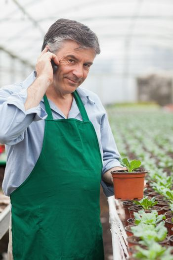 Assistant calling while holding a seedling