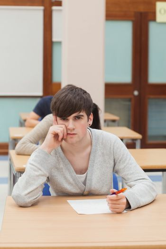 Man thinking during exam