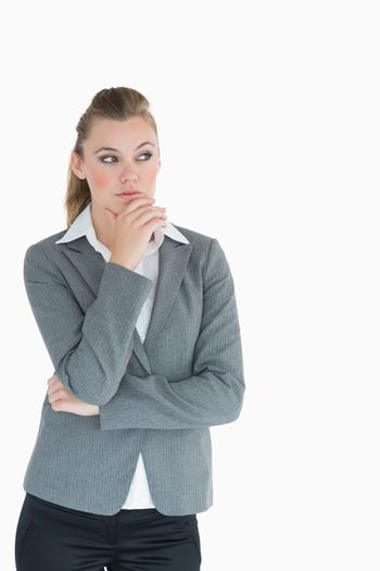 Businesswoman looking away in thought