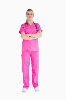 Doctor wearing pink scrubs