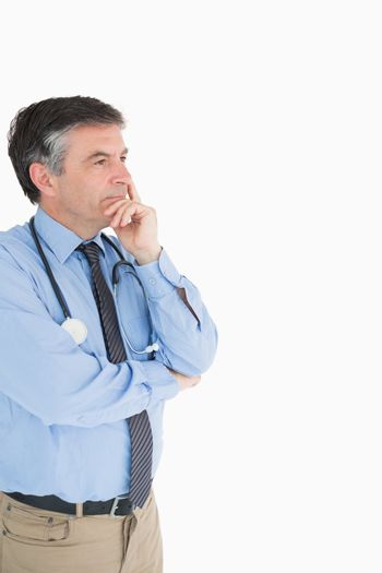 Doctor looking away in thought