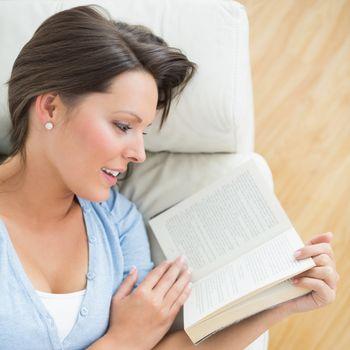 Smiling brunette reading a novel on the sofa