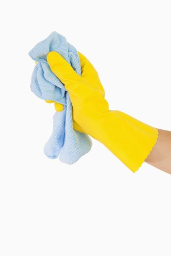 Hand cleaning with rag