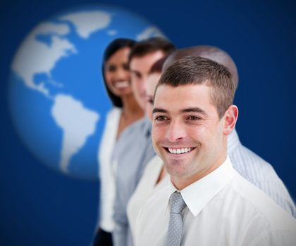 Businesspeople standing smiling against blue background