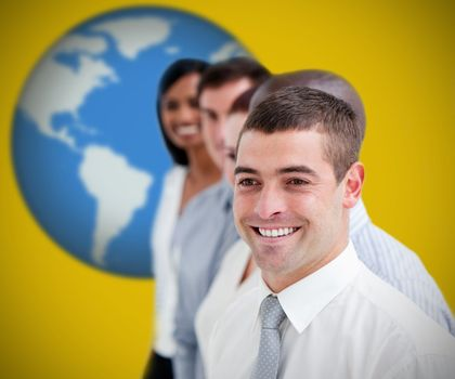 Businesspeople standing and smiling against yellow background