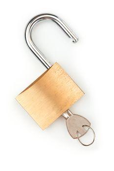 Key in unlocked padlock
