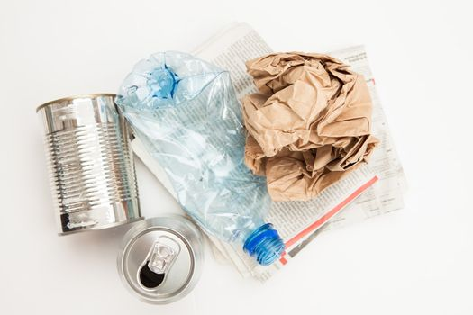 Plastic paper and mteallic waste