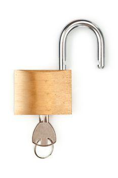 Unlocked padlock with key in it