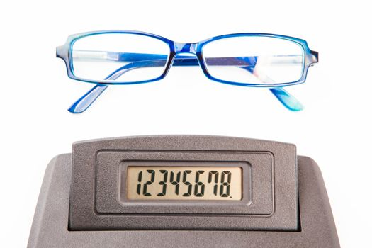 Glasses and sector of calculator