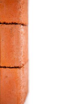 Edge of stack of bricks