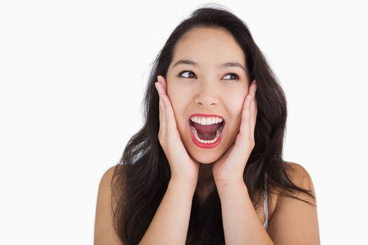 Smiling woman yelling