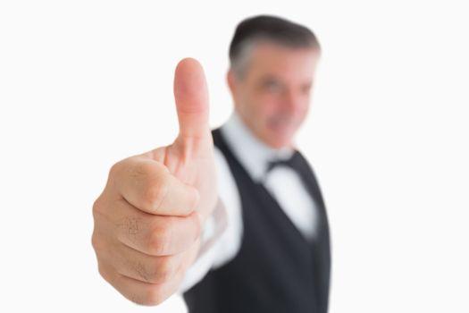 Waiter having thumbs up