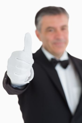 Waiter with thumbs up