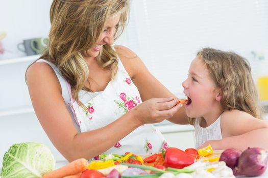 Mother feeding her daughter