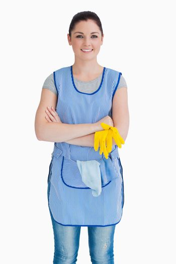 Cleaner crossing her arms
